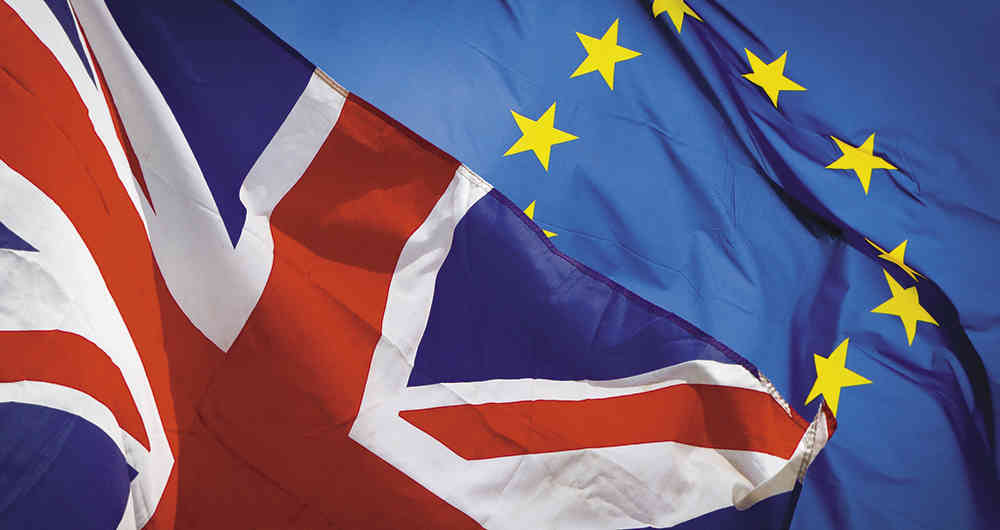 Flags of Great Britain and European Union