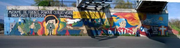 Mural de Mico en el memorial del Puente Bulnes.