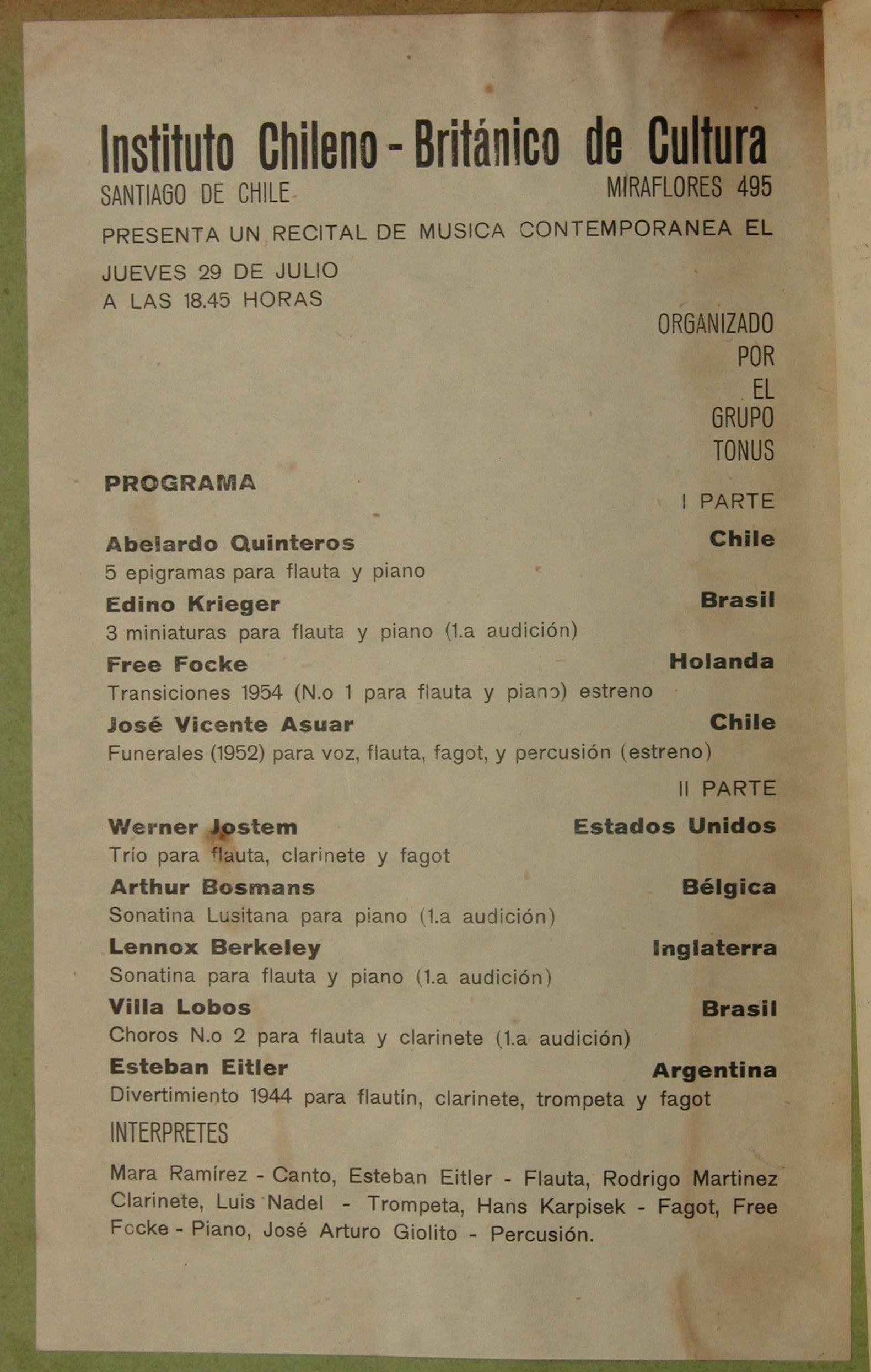Programa de un concierto de 1954. Fuente: Revista Resonancias UC.