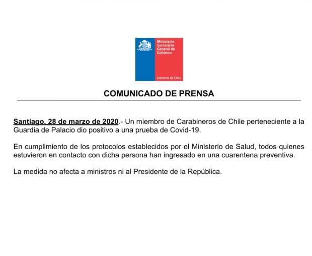 Comunicado de la Secretaría General de Gobierno.