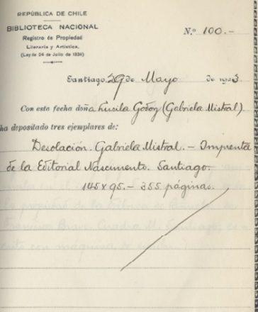 """Registro de Propiedad Intelectual de la obra """"Desolación"""" (1922) de Gabriela Mistral. Fuente: Propiedad Intelectual."""