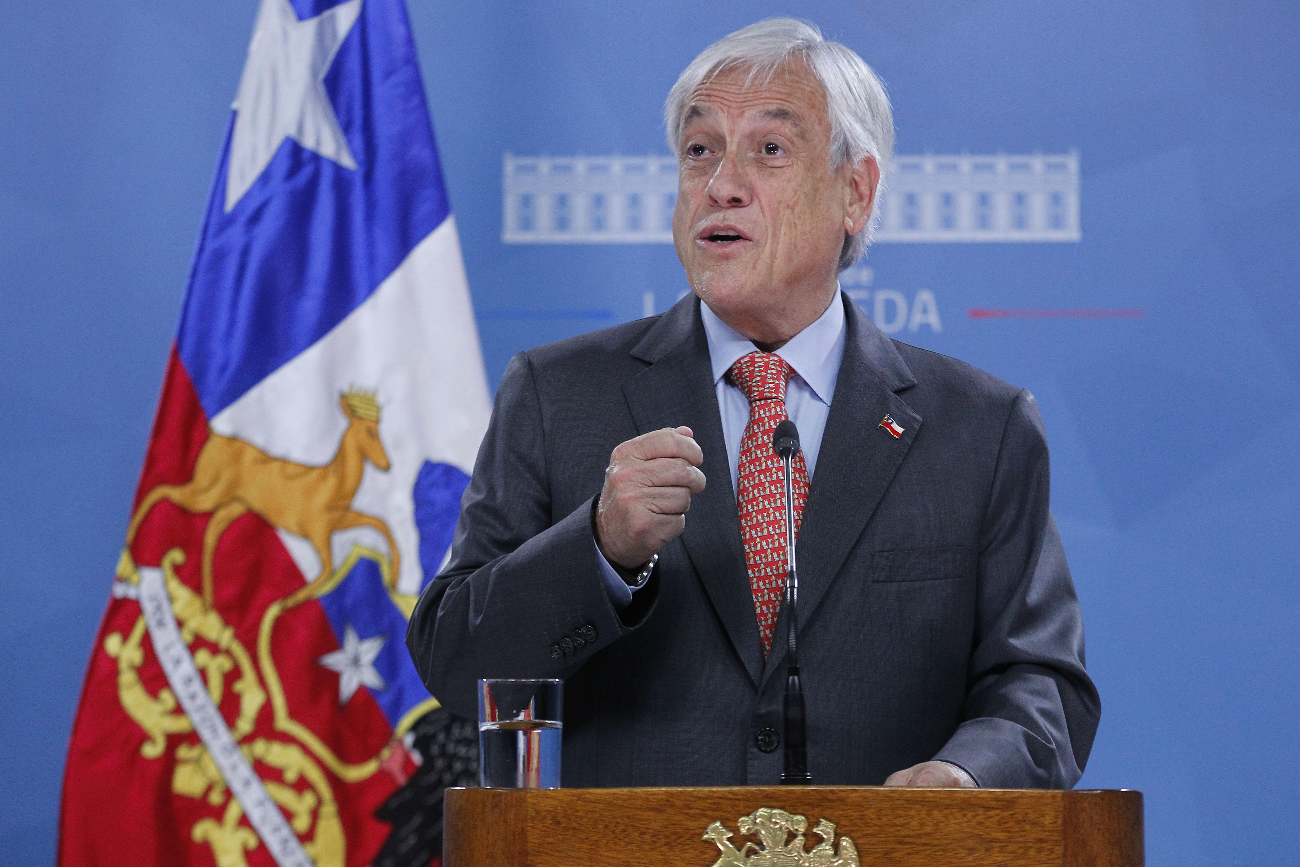 Santiago, 1 de octubre 2019 El presidente de la republica, Sebastian Pinera, realiza un punto de prensa en el palacio de La Moneda   Dragomir Yankovic/Aton Chile