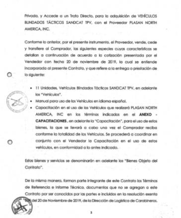Extracto del contrato vía trato directo entre la Dirección de Logística de Carabineros de Chile y la filial norteamericana de la empresa israelí Plasan Inc. Fuente: Diario y Radio Universidad de Chile.