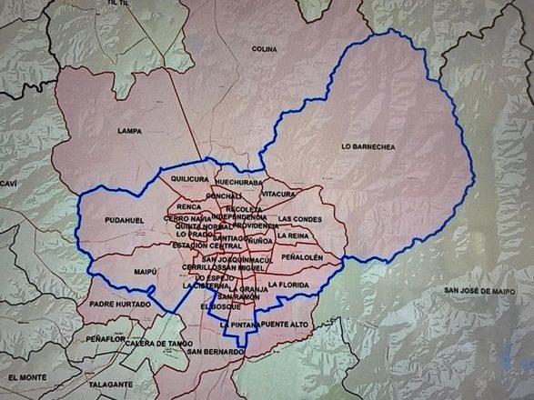 Mapa del Gran Santiago con las comunas que quedarán bajo las medidas de confinamiento desde este viernes 15 de mayo a las 22 horas. Fuente: Minsal.