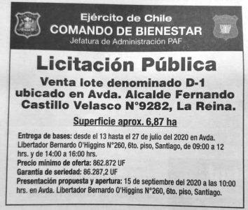 Llamado del Ejército de Chile a la licitación pública para la venta del lote denominado D-1 ubicado en Avenida Fernando Castillo Velasco Nº en la comuna de La Reina.