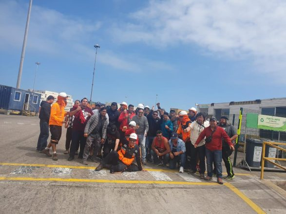 Son aproximadamente 5.000 trabajadores y trabajadoras portuarias las que paralizarán sus actividades desde las 13 horas de este miércoles, a la espera de lo que suceda en la Cámara de Diputados con la votación por el retiro del 10% de las pensiones. Foto: Unión Portuaria de Chile.