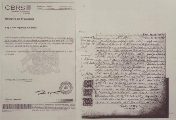Inscripción del registro de propiedad, fechado al año 1966, en el que se da cuenta de que la propiedad del predio es de la entonces Dirección de Deportes del Estado. Fuente: Diario y Radio Universidad de Chile.