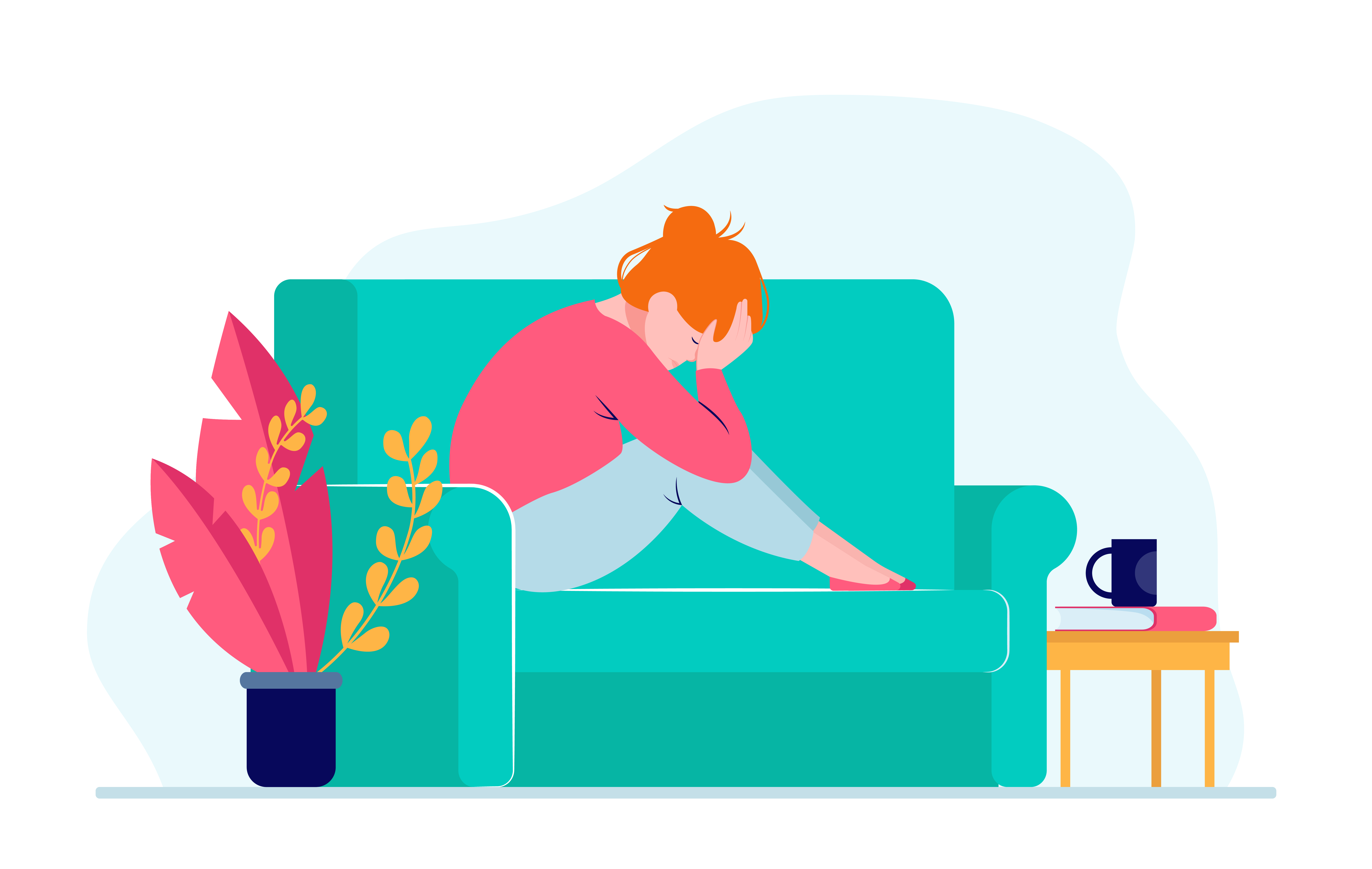 Young depressed woman sitting on sofa and holding head. Depression, health, problem flat vector illustration. Stress and emotion concept for banner, website design or landing web page