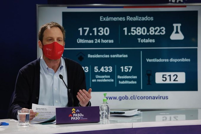 El subsecretario de Redes Asistenciales, Arturo Zúñiga, estuvo a cargo de dar a conocer las últimas cifras sobre la situación de la pandemia en nuestro país. Foto: Ministerio de Salud.