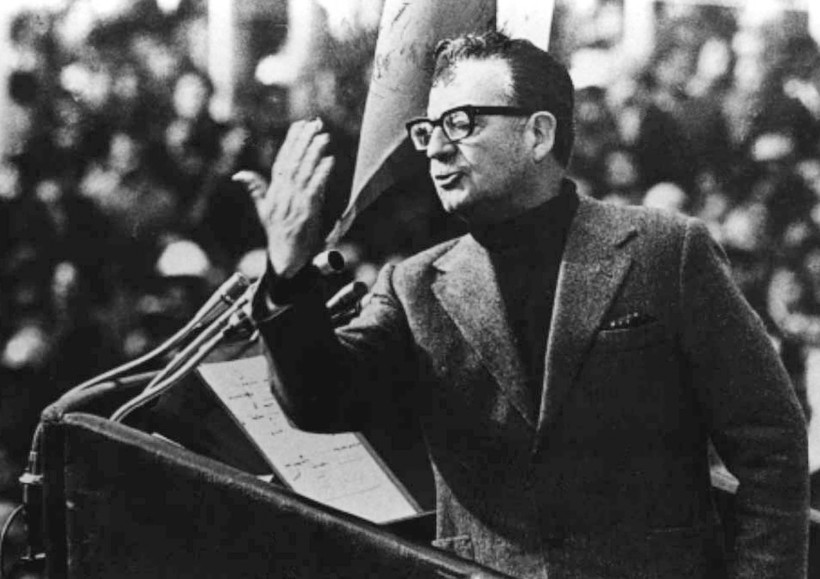 File picture of Former Chilean President Salvador Allende delivering a speech on 1973