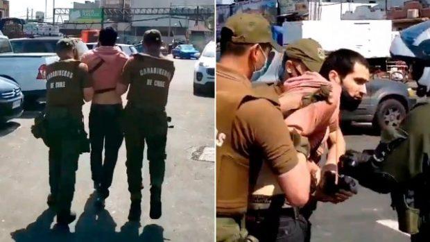 """Mientras se llevaba a cabo una actividad en la Vega Central con el ministro Jaime Bellolio, un sujeto gritó '¡Piñera asesino!"""" y fue detenido por efectivos de Carabineros. Foto: Captura de video."""