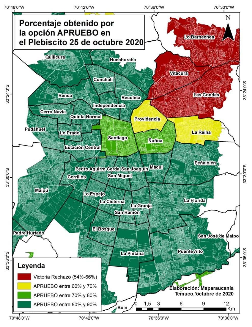 Porcentajes obtenidos por la opción Apruebo en las distintas comunas que componen el Gran Santiago. Fuente: MapAraucanía.
