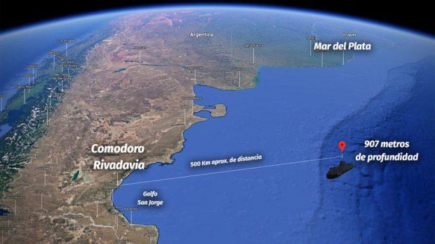 Lugar en donde se hallaron los restos del submarino de la Armada argentina ARA San Juan, el que naufragó dejando 44 víctimas fatales. Foto: Infobae.