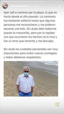 """Publicación subida a las """"historias"""" de la cuenta del Presidente de la República, Sebastián Piñera, a raíz de la polémica causada por sus imágenes sin mascarilla en la playa de Cachagua."""