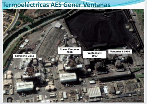 Centrales termoeléctricas controladas por AES Gener en la zona de Ventanas-Quintero-Puchucaví. Fuente: Greenpeace Chile.