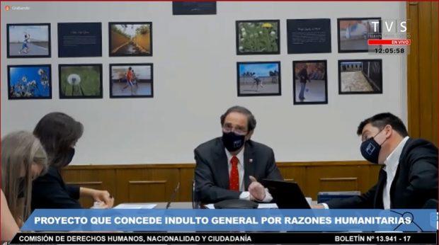 En representación del Gobierno estuvieron el ministro de Justicia y DDHH, Hernán Larraín, junto a la subsecretaria de Derechos Humanos, Lorena Recabarren, y el subsecretario de Justicia, Sebastián Valenzuela. Foto: Captura Senado TV.
