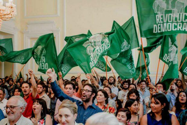 El partido Revolución Democrática fue fundado en 2012 por algunos de los líderes de la movilización estudiantil de 2011, entre los que destacan el diputado Giorgio Jackson. Foto: Archivo.
