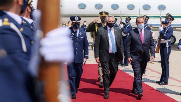 El Presidente de la Nación Argentina, Alberto Fernández, arribó este martes a nuestro país en la que es su primera visita oficial desde su llegada a la presidencia. Foto: Agencia UNO.