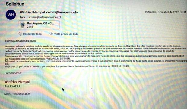 Correo electrónico entre Winfried Hempel y Sandra Rivera, abogada de la Defensoría de la Niñez en Talca, incluido dentro del requerimiento de remoción presentado por parlamentarios de Chile Vamos en contra de la Defensora de la Niñez. Fuente: Poder Judicial.