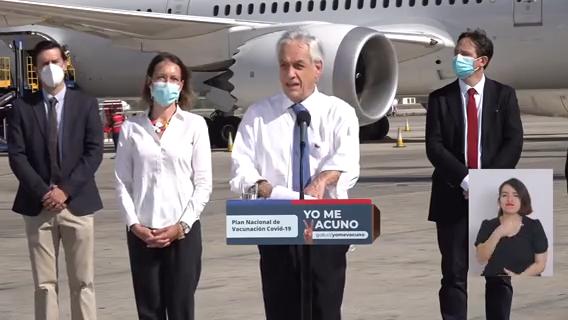 El Presidente Piñera anunció este jueves que el plan de vacunación contra el covid-19 se iniciará el miércoles 3 de febrero con los adultos mayores de 90 años Imagen: @minsal