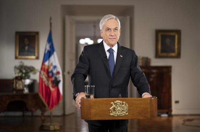 En una cadena nacional realizada este lunes 22 de marzo, el presidente Sebastián Piñera anunció la extensión de la Red de Protección Social del Gobierno de cara a las medidas de confinamiento. Foto: Presidencia.