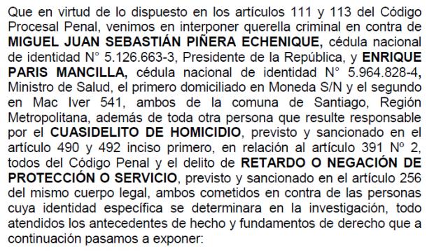 Parte de la acción legal presentada en contra del Presidente Sebastian Piñera y el ministro de Salud, Enrique Paris. Fuente: Poder Judicial.