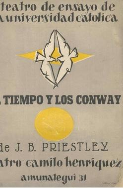 Afiche de El tiempo y los conwayde 1952. Diseño e ilustración de Claudio Di Girólamo, 31x42 cm.