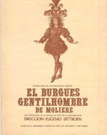Afiche de El burgués gentilhombre versión de 1975. Vicerrectoría de Comunicaciones, Pontificia Universidad Católica de Chile. 54.5x76.0 cm.