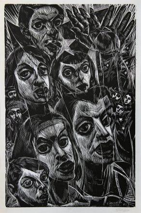 Carlos Hermosilla. Sin titulo, 1935. Linograbado sobre papel. Colección de Eulogio Rojas.