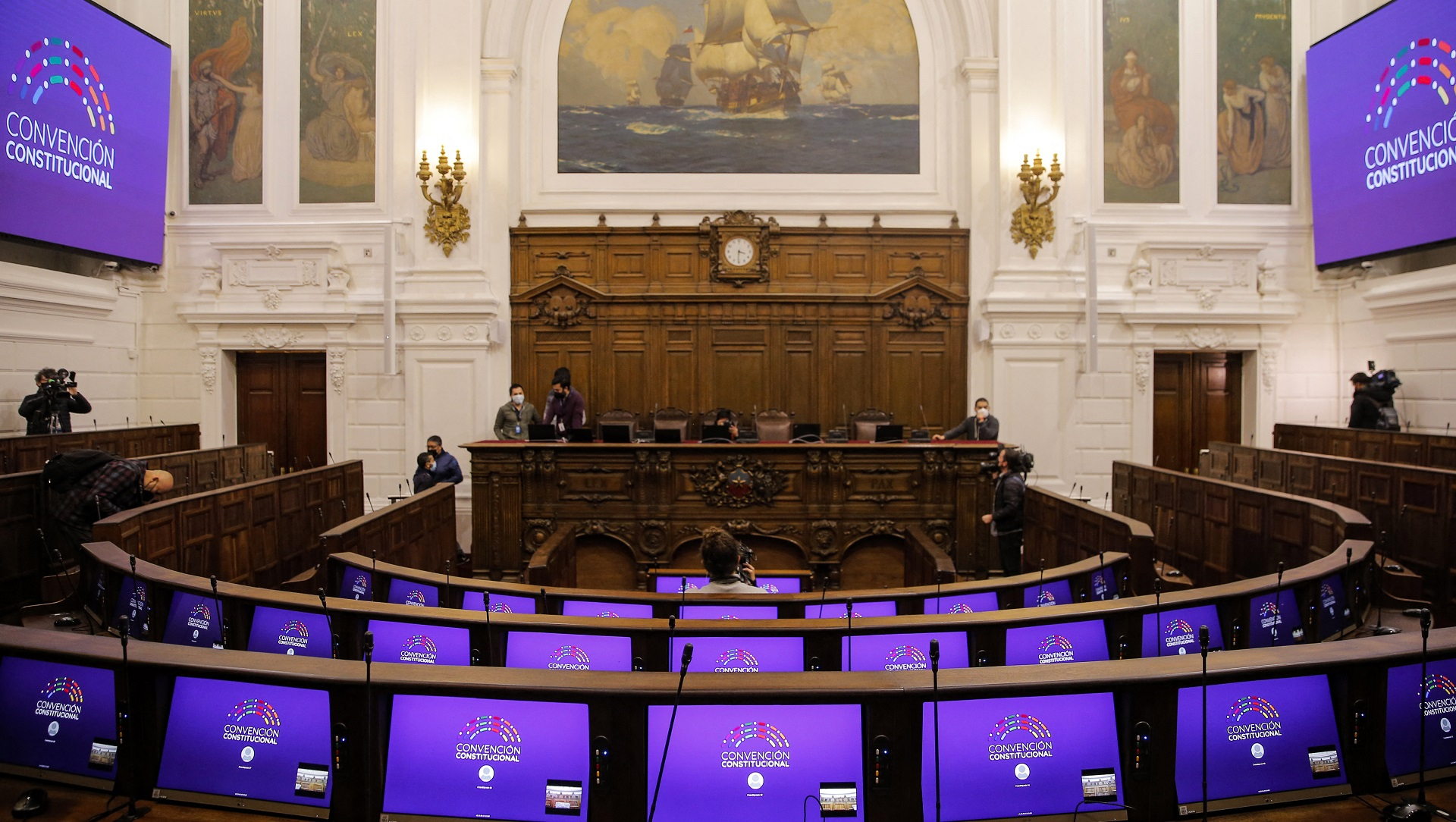 View of the interior of the National Congress headquarters in Santiago which will house 155 constituents who will draft the new Constitution, in Santiago 30 June 2021. - The assembly will be installed on July 4. (Photo by JAVIER TORRES / AFP)