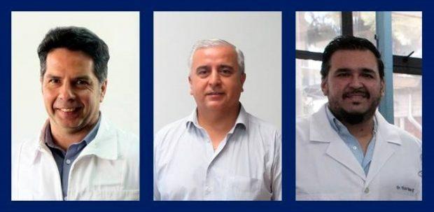 Dr. Sergio Bucarey Vivanco, Dr. Andrónico Neira Carrillo, Dr. Víctor Neira Ramírez, académicos de Favet.
